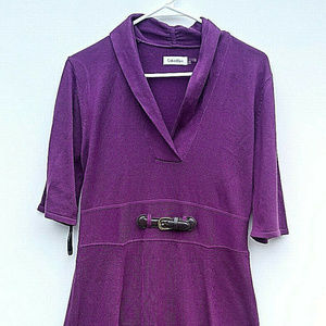 Calvin Klein Sweater Dress Purple w/ Belt Size Lrg